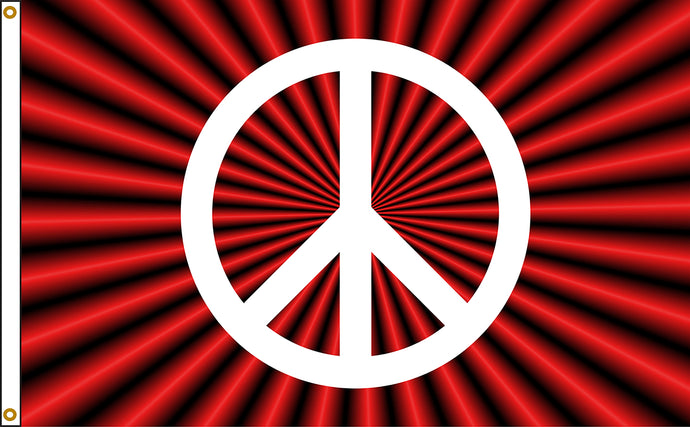 3x5 Red Peace Sign Flag; Nylon H&G
