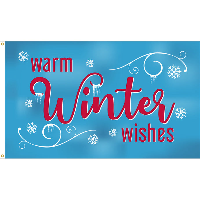 3x5 Warm Winter Wishes Seasonal Flag; Nylon H&G