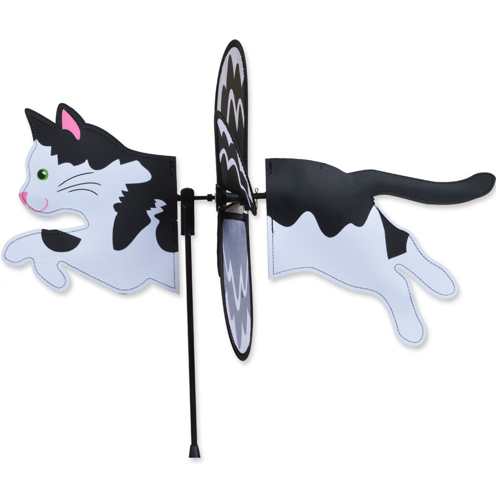 "Load image into Gallery viewer, Black & White Cat Petite Spinner; Nylon 19""x9"", diameter 12.75"""