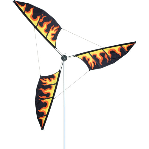 Flames Wind Generator to include Aluminum Mast & Ground Stake; 10.5T Pole with 6.5OD Wind Generator