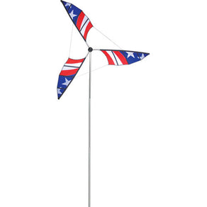 Patriotic Wind Generator to include Aluminum Mast & Ground Stake; 10.5T Pole with 6.5OD Wind Generator