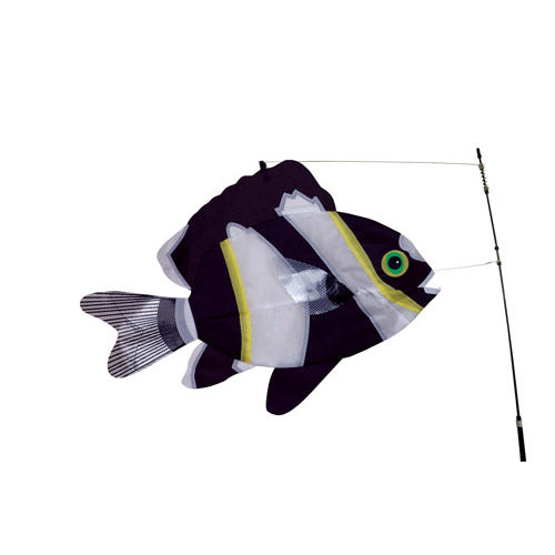 "Load image into Gallery viewer, Black & White Swimming Fish to include fiberglass hardware & pole; Nylon 21""x14"""