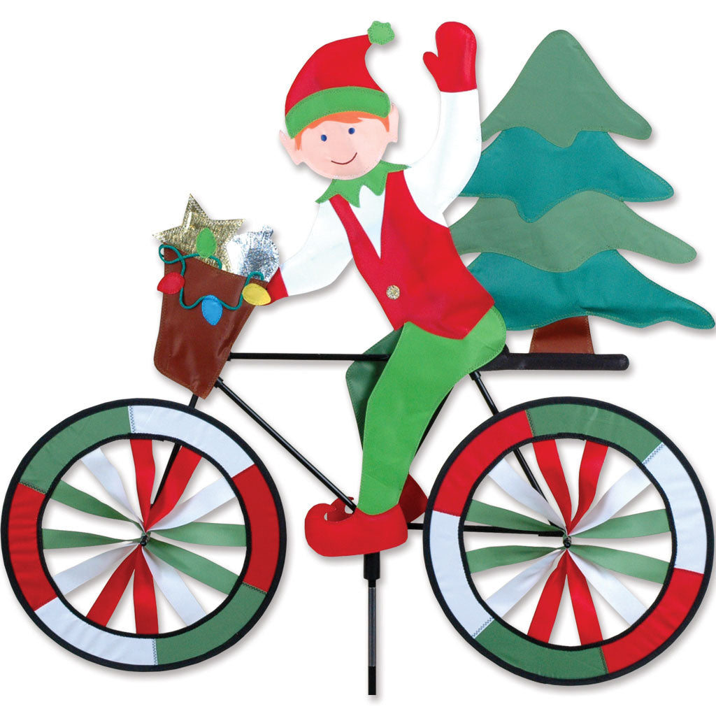 "Load image into Gallery viewer, Christmas Elf Seasonal Bicycle Spinner; Nylon 30""x28""x12.25""OD"