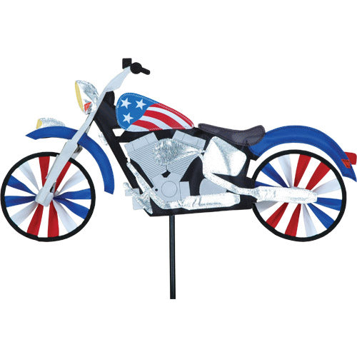 "Load image into Gallery viewer, Patriotic Motorcycle Spinner; Nylon 22.5""x11.5"", diameter 6"""
