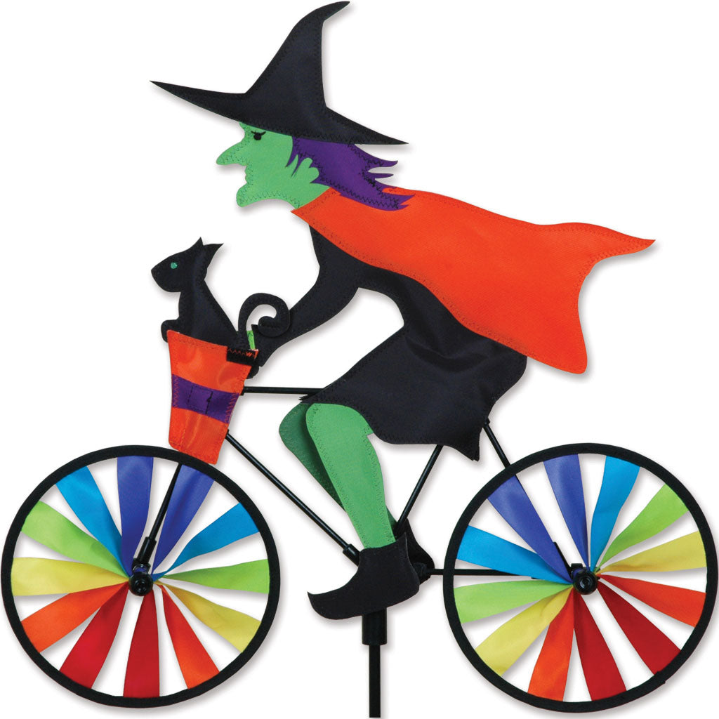 "Load image into Gallery viewer, Halloween Witch Seasonal Bicycle Spinner; Polyester 20""x18.5""x7""OD"