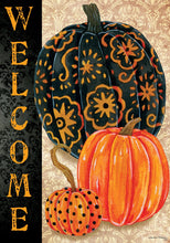 "Load image into Gallery viewer, ""Elegant Fall Pumpkins"" Printed Seasonal House Flag; Polyester"