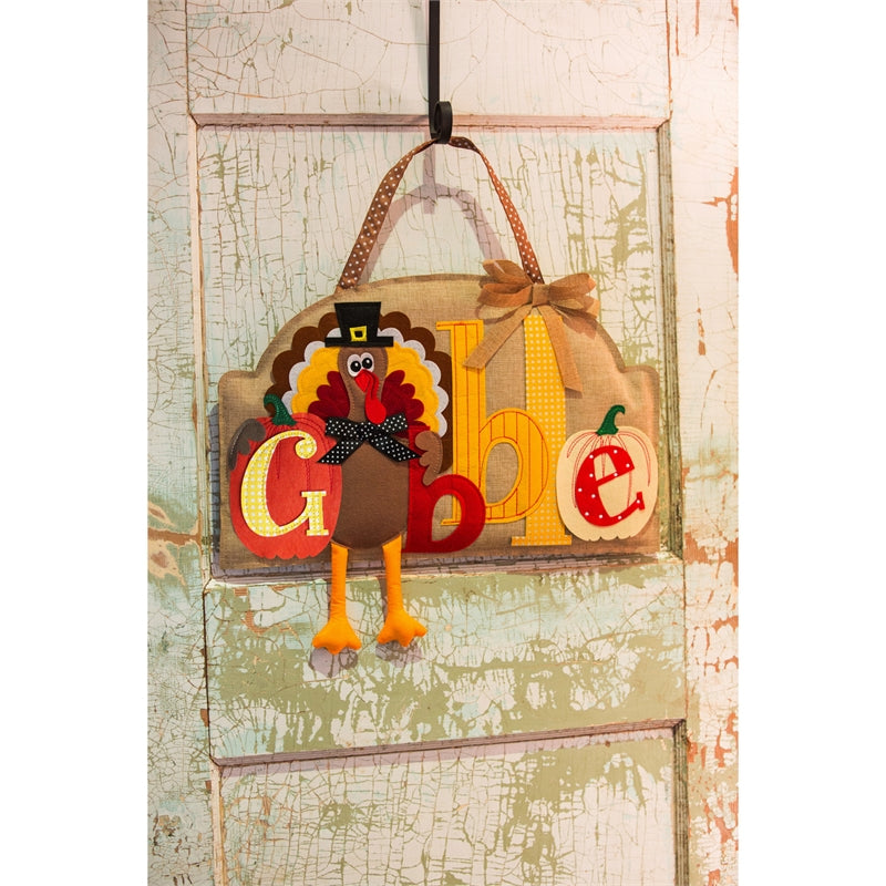 "Load image into Gallery viewer, ""Gobble Gobble"" Burlap Door Hanger; 14""Lx21""W"