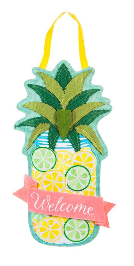 "Load image into Gallery viewer, ""Lemon Lime Pineapple"" Door Hanger; Burlap 26""Lx14""W"