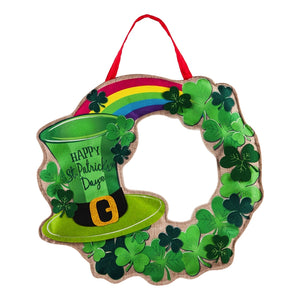 St.Patrick's Day Wreath Door Decor with Leprechaun Hat & Rainbow