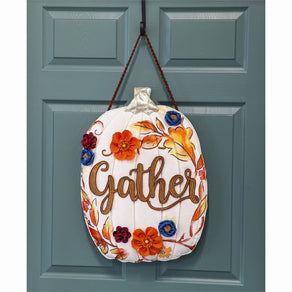 """Gather Floral Pumpkin"" Door Hanger; 21.8""Lx18""W"