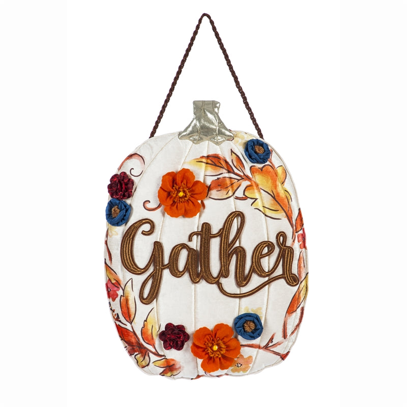 "Load image into Gallery viewer, ""Gather Floral Pumpkin"" Door Hanger; 21.8""Lx18""W"