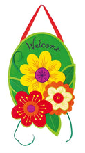 "Load image into Gallery viewer, ""Lively Flowers"" Door Hanger; Felt 20""Lx14""W"