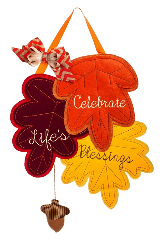 "Load image into Gallery viewer, ""Celebrate Lifes Blessings Fall"" Door Hanger; Felt 24""Lx17""W"