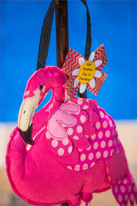 "Load image into Gallery viewer, ""Flamingo"" Door Hanger; Felt 17""Lx25""W"