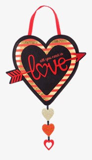 "Load image into Gallery viewer, ""All You Need Is Love"" Felt Door Hanger"