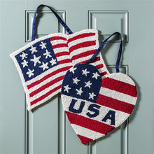 "Load image into Gallery viewer, ""Patriotic Heart"" Hooked Door Hanger; Polypropylene"