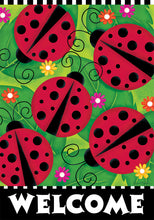 "Load image into Gallery viewer, ""Ladybugs"" Printed Seasonal House Flag; Polyester"