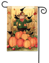 "Load image into Gallery viewer, ""Give Thanks Scarecrow"" Printed Seasonal Garden Flag; Polyester"