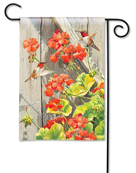 "Load image into Gallery viewer, ""Hummingbirds with Geraniums"" Printed Seasonal Garden Flag; Polyester"