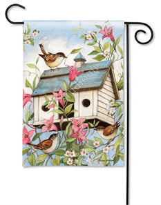 """Spring Birdhouse with Clematis"" Printed Seasonal Garden Flag; Polyester"