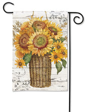 "Load image into Gallery viewer, ""Farmhouse Sunflower"" Printed Seasonal Garden Flag; Polyester"