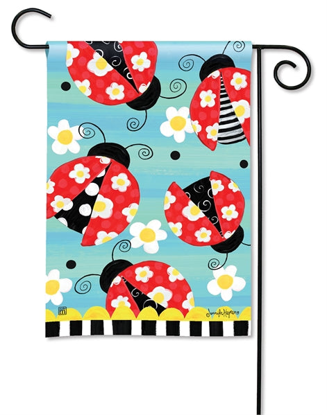 "Load image into Gallery viewer, ""Folk Ladybugs"" Printed Seasonal Garden Flag; Polyester"