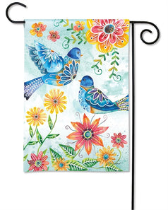 """Happy Bluebirds"" Printed Seasonal Garden Flag; Polyester"