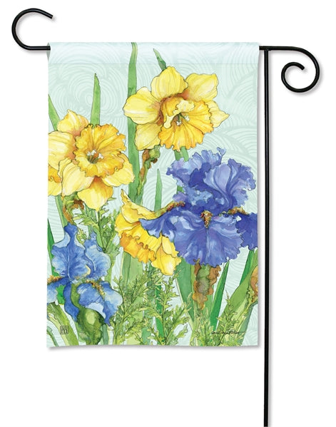 "Load image into Gallery viewer, ""Daffodils and Irises"" Printed Seasonal Garden Flag; Polyester"