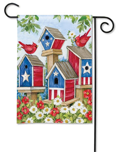 """All American Birdhouses"" Printed Seasonal Garden Flag; Polyester"