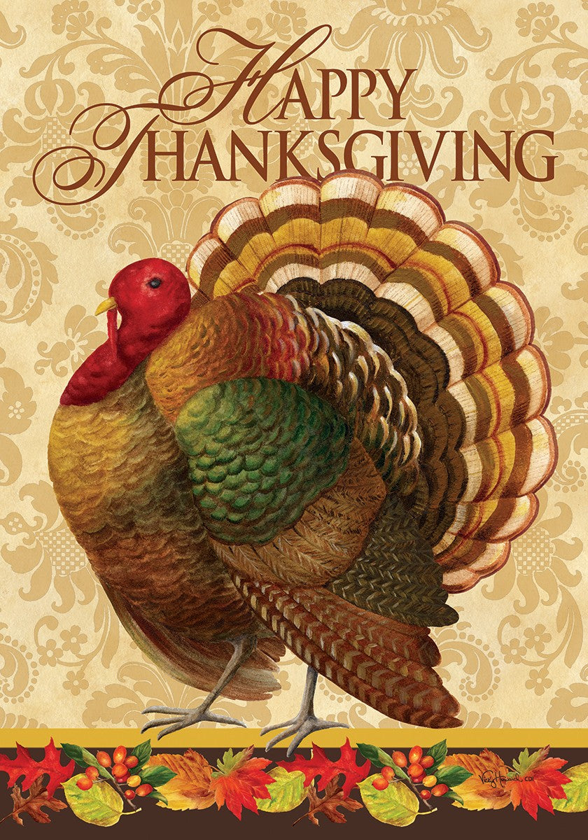 "Load image into Gallery viewer, ""Thanksgiving Turkey"" Printed Seasonal Garden Flag; Polyester"