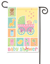 "Load image into Gallery viewer, ""Baby Shower"" Printed Seasonal Garden Flag; Polyester"