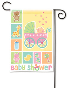 """Baby Shower"" Printed Seasonal Garden Flag; Polyester"