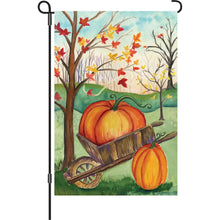 "Load image into Gallery viewer, ""Pumpkin in a Wheelbarrow"" Printed Seasonal Garden Flag; Polyester"