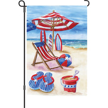 "Load image into Gallery viewer, ""Patriotic Summer Beach"" Printed Seasonal Garden Flag; Polyester"