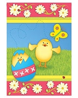 """A Chick Is Born"" Printed Seasonal Garden Flag; Polyester"