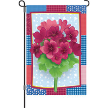 "Load image into Gallery viewer, ""Country Geraniums"" Printed Seasonal Garden Flag; Polyester"