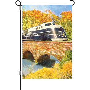 """B&O Autumn Train"" Printed Seasonal Garden Flag; Polyester"