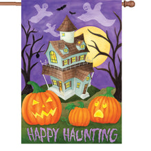 "Load image into Gallery viewer, ""Happy Haunting"" Printed Seasonal House Flag; Polyester"