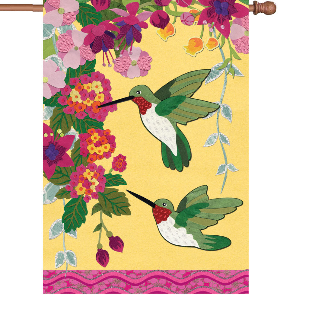 "Load image into Gallery viewer, ""Hummingbirds Fuschia"" Printed Seasonal House Flag; Polyester"
