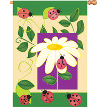 "Load image into Gallery viewer, ""Garden Ladybug"" Printed Seasonal House Flag; Polyester"