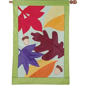 "Load image into Gallery viewer, ""Fall Foliage"" Applique Seasonal House Flag; Polyester"