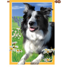 "Load image into Gallery viewer, ""Lacey the Border Collie"" Printed Seasonal House Flag; Polyester"