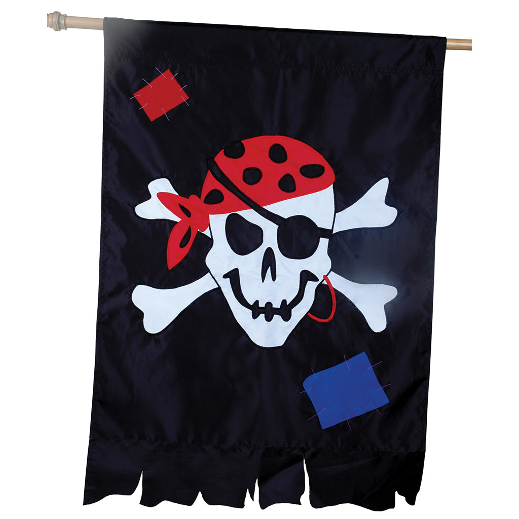 "Load image into Gallery viewer, ""Tattered Jolly Roger"" Seasonal House Flag; Polyester"