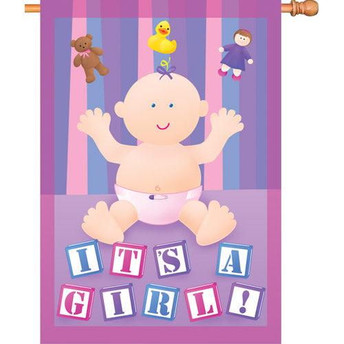 "Load image into Gallery viewer, ""Our New Baby Girl"" Printed Seasonal House Flag; Polyester"