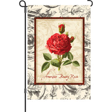 "Load image into Gallery viewer, ""American Beauty Rose"" Printed Seasonal Garden Flag; Polyester"