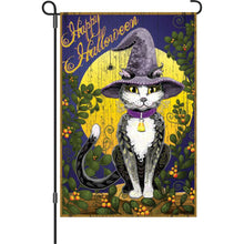 "Load image into Gallery viewer, ""Candy Corn Halloween Cat"" Printed Seasonal Garden Flag; Polyester"
