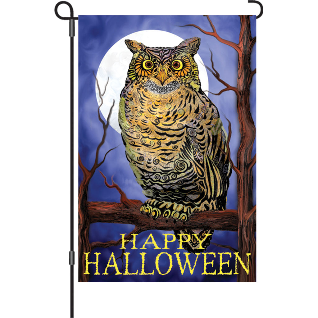"Load image into Gallery viewer, ""Owl & Moon"" Printed Seasonal Garden Flag; Polyester"