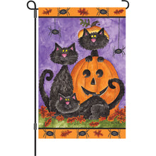 "Load image into Gallery viewer, ""Three Black Cats"" Printed Seasonal Garden Flag; Polyester"