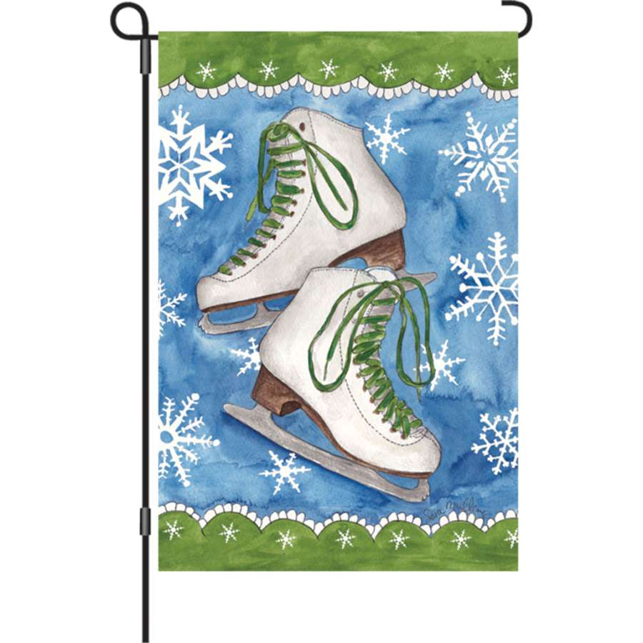 "Load image into Gallery viewer, ""Winter Ice Skates"" Printed Seasonal Garden Flag; Polyester"