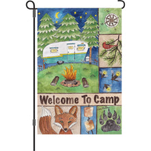 "Load image into Gallery viewer, ""Welcome to Camp"" Printed Seasonal Garden Flag; Polyester"